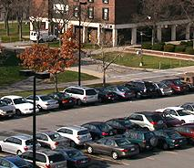 Cars parked on the Buffalo State campus